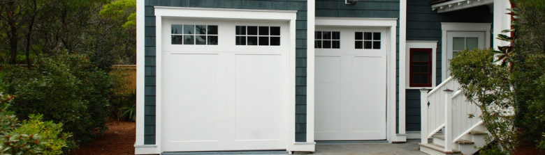 White garage doors with windows