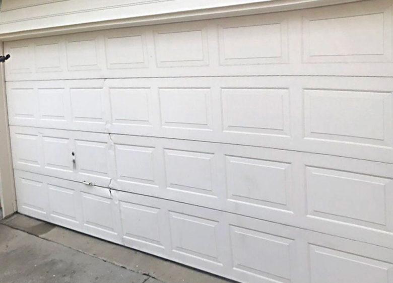 Dented Garage Replacement Before Complete Overhead Door